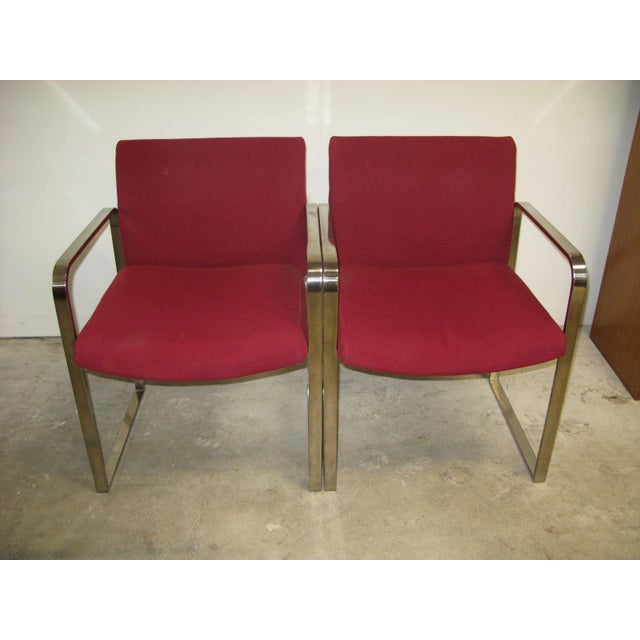 Mid-Century Modern Mid Century Modern Chrome Flat Bar Side Chairs- A Pair For Sale - Image 3 of 8