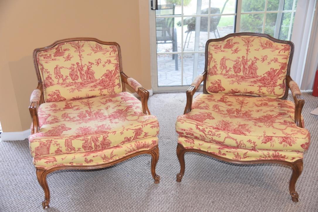 Pierre Deux Louis XV Chairs U0026 Ottomans   A Pair   Image 3 Of 11
