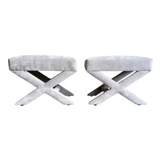 "Mid-Century Modern ""X"" Base Billy Baldwin Style Benches - a Pair For Sale"
