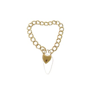 Victorian Style English Padlock Heart Link Bracelet For Sale