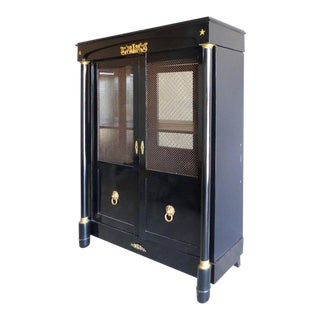 French Empire Lacquered Bibliotheque with Bronze Trellis Doors and Ormolu For Sale