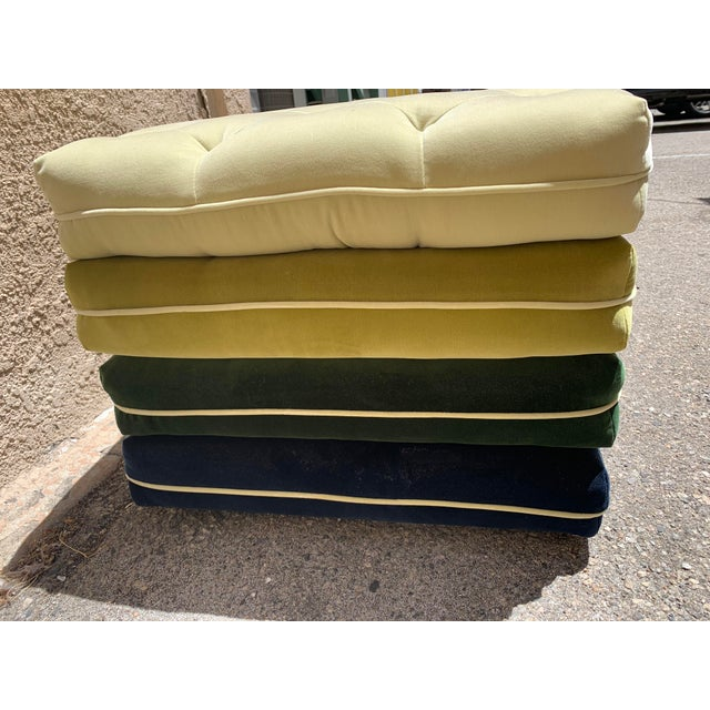 Custom made velvet green and blue ombre multi color ottoman with wheels. Top is tufted. Perfect to use as additional...