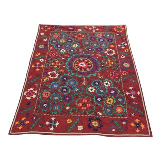 Large Vintage Red Floral Suzani Textile Cloth For Sale