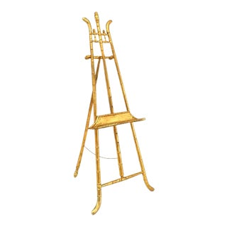 French Victorian Gilt Faux Bamboo Easel Stand For Sale