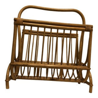 Vintage Boho Chic Cane Magazine Rack For Sale