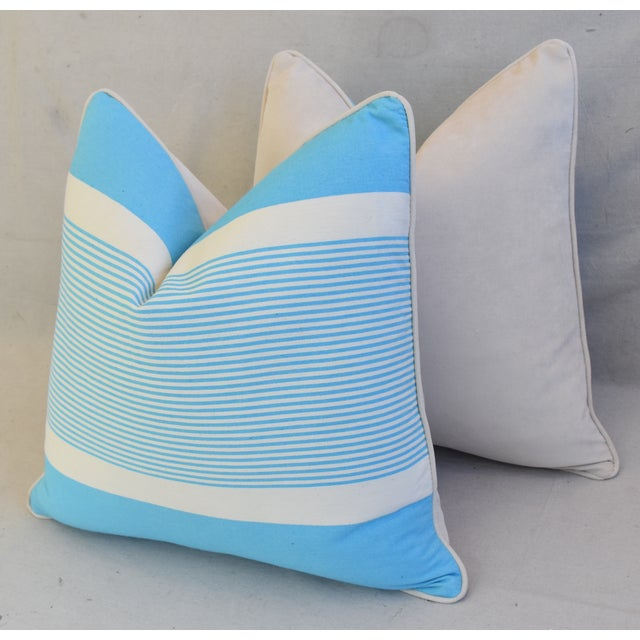 """French Blue & White Nautical Striped Feather/Down Pillows 22"""" Square - Pair For Sale - Image 10 of 13"""