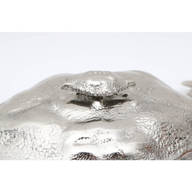 Nickle-Plated Life Size Crab Form Lidded Dish by Angel & Zevallos C. 2017 For Sale - Image 4 of 10