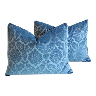 "Custom French Blue Linen Velvet Feather/Down Pillows 26"" x 20"" - Pair"