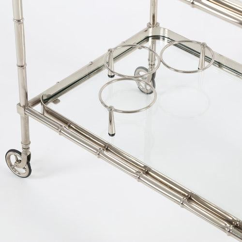 1960S SWEDISH POLISHED-NICKEL, FAUX-BAMBOO BAR CART ON CASTERS - Image 4 of 10