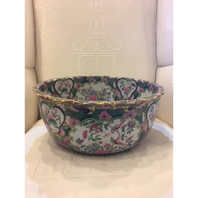 This is a late 20th century Chinese Canton style 'famille rose' enameled porcelain punch bowl (sometimes also called 'Rose...