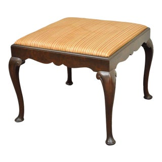 Antique Schmieg & Kotzian Mahogany Wood Queen Anne Square Stool Bench Ottoman For Sale