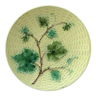 1870 Majolica Vine Leaves Sarreguemines Plate For Sale