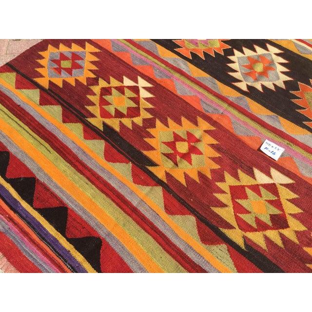 Textile Vintage Aztec Kilim Rug For Sale - Image 7 of 9