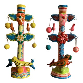 Vintage Mexican Pottery Candlesticks - a Pair For Sale