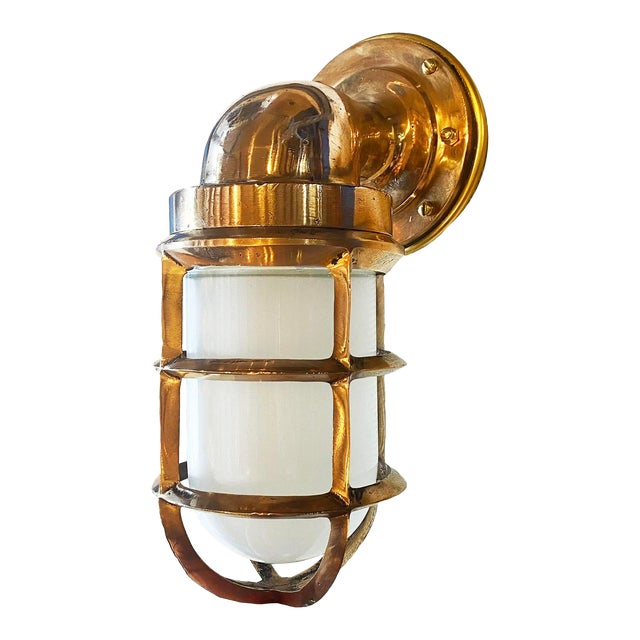 Solid Bronze Architectural Salvage Starboard Indoor / Outdoor Sconce For Sale