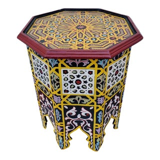 Moroccan Hexagonal Wooden Side Table - 7lm24 For Sale