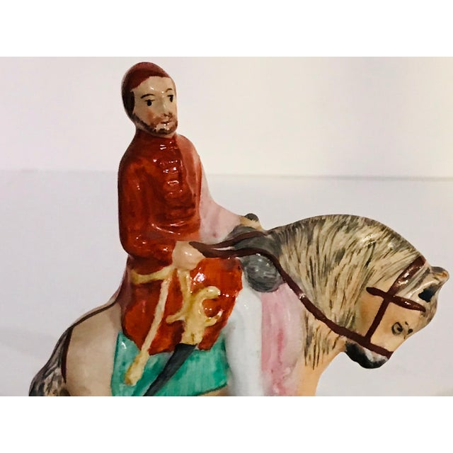 Antique Staffordshire Figurines on Horseback - a Pair For Sale - Image 4 of 8