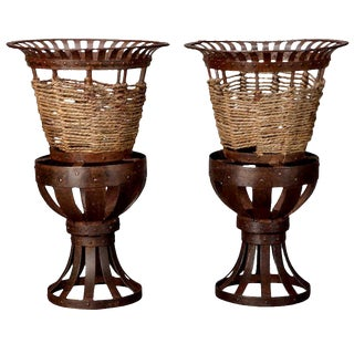 French Iron & Woven Jute Jardinières Planters - A Pair For Sale