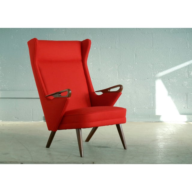 Red Svend Skipper Attributed 1950s Papa Bear Style Lounge Chair For Sale - Image 8 of 8