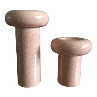 1980's Art Deco Jaru Pink Ceramic Columns - a Pair