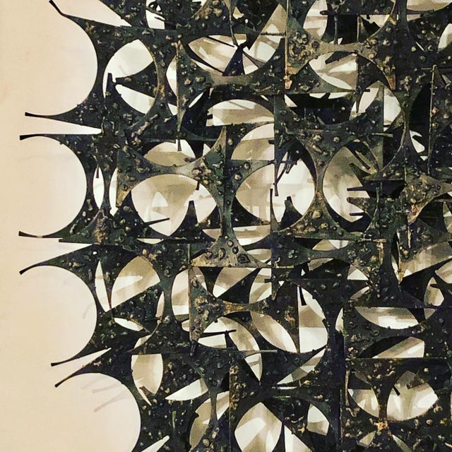 Midcentury Brutalist Metal Wall Sculpture by Marc Weinstein.