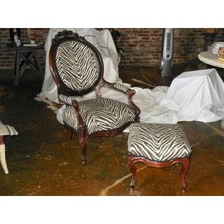 Vintage Carved Mahogany Fauteuil and Ottoman Preview