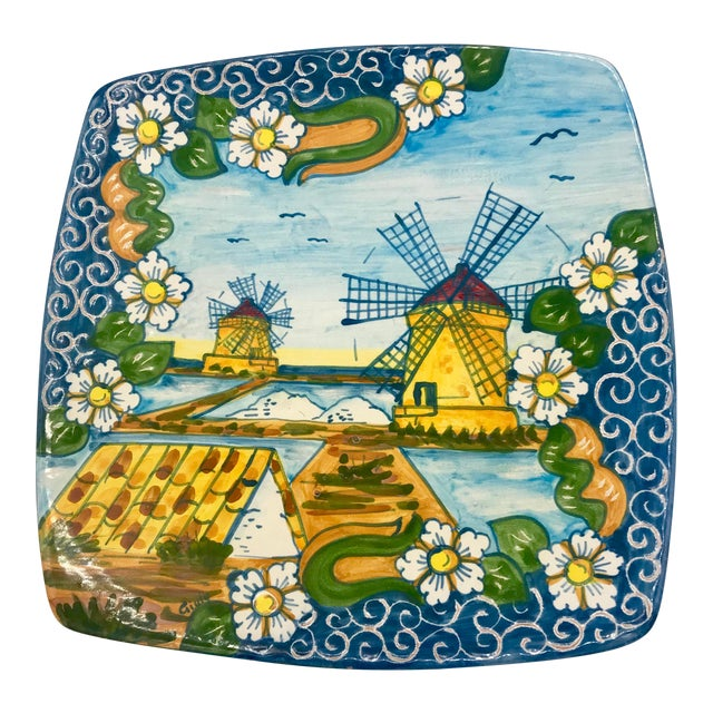Trapani Windmills of Sicily Motif Hand Painted Terra Cotta Antipasta Wall Platter For Sale