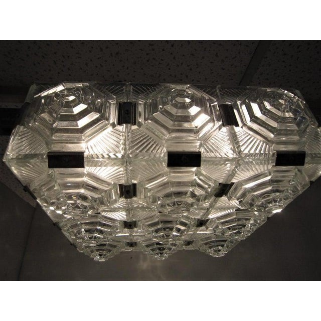 Transparent Art Deco Revival Flush Mount Glass Ceiling Squares - 2 Available For Sale - Image 8 of 13