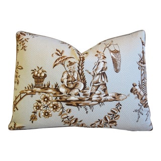 "Designer Bailey & Griffin Chinoiserie Feather/Down Pillow 22"" X 16"" For Sale"