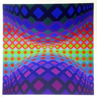 "1980s Victor Vasarely, ""Reech"", Op Art Screenprint For Sale"