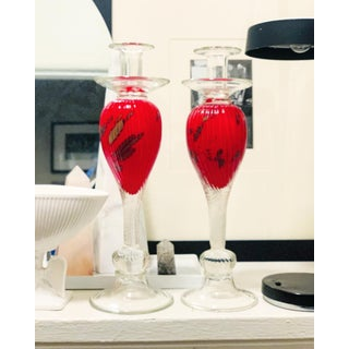 Red and Gold Murano Candle Holders - a Pair Preview