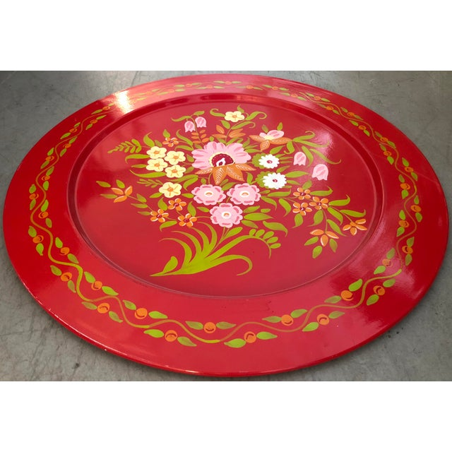 Country Large Painted Metal Tray For Sale - Image 3 of 5