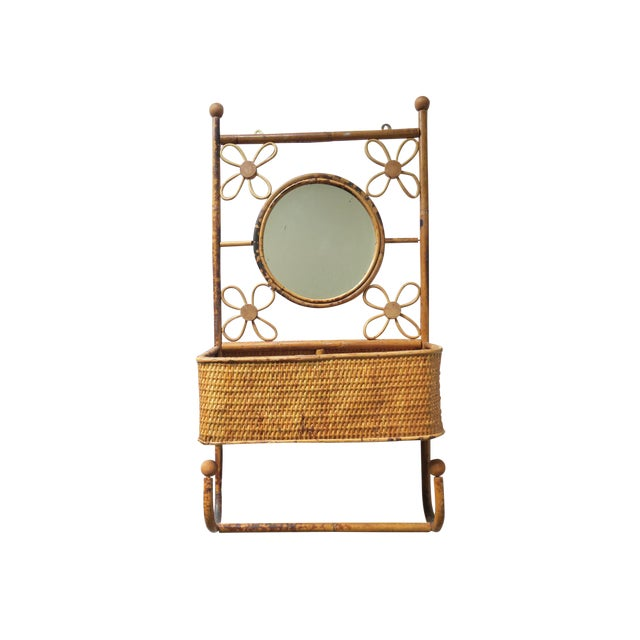 Vintage Natural Rattan Bamboo Round Mirror Wall Shelf Storage Caddy Hook For Sale