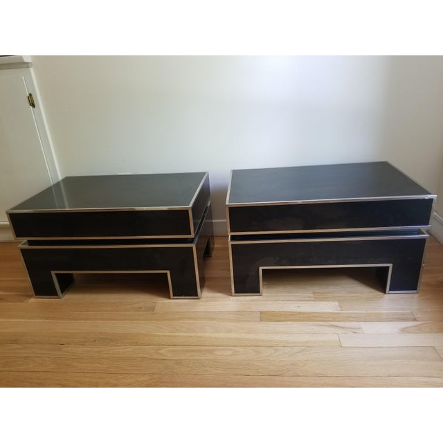 Chrome Trimmed Lacquered Side Tables - A Pair - Image 2 of 7