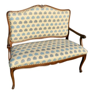 Custom Block Printed Textile Upholstered Settee For Sale