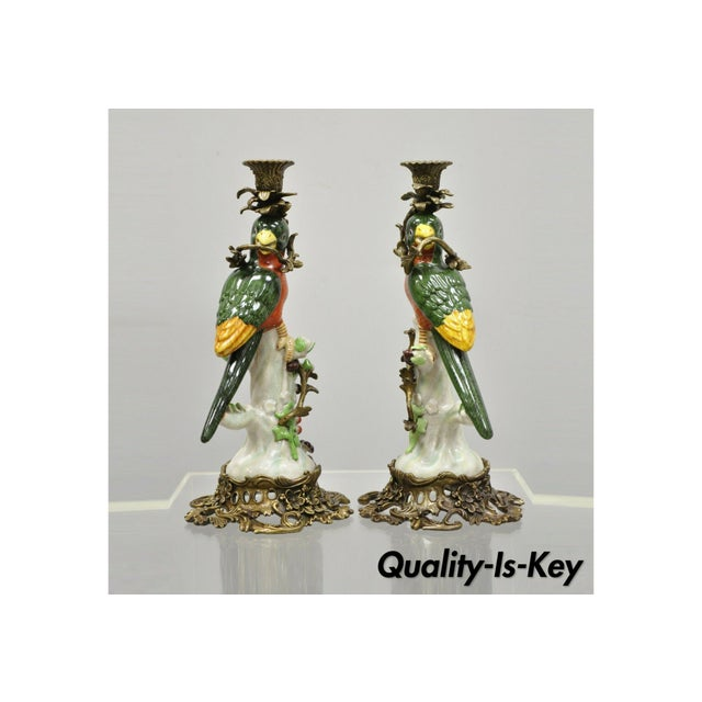 French Green & Yellow Parrot Candlestick Candle Holders-a Pair For Sale - Image 11 of 11
