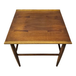 Mid-Century Modern Baumritter Walnut Side Table With Bowtie Inlay & Oak Accents For Sale