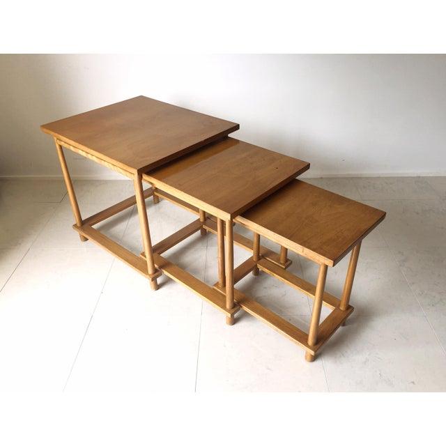 Mid-Century Modern T.H. Robsjohn-Gibbings Nesting Tables - Set of 3 For Sale - Image 3 of 7