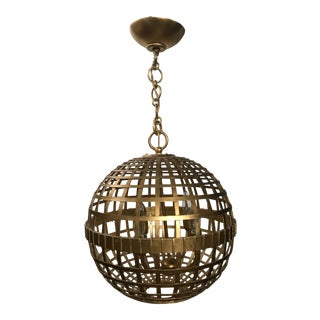 Aerin for Visual Comfort Gold Striated Globe Ceiling Fixture For Sale