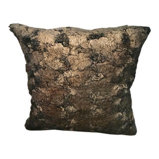 Gilded Black and Gold Faux Fur Pillow For Sale