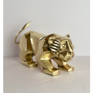 1980s Cubist Dolbi Cashier Brass Lion Sculpture Preview