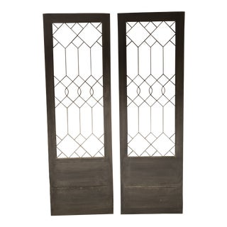 Authentic Pair of Custom Leaded Glass Doors - A Pair For Sale