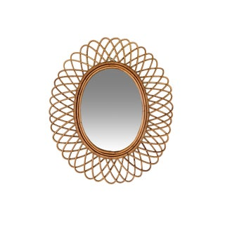 1950s Vintage Italian Franco Albini Oval Rattan Mirror For Sale