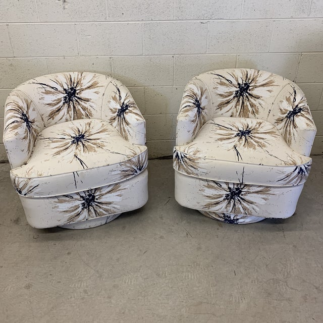 Milo Baughman Style Swivel Chairs - a Pair For Sale - Image 12 of 12
