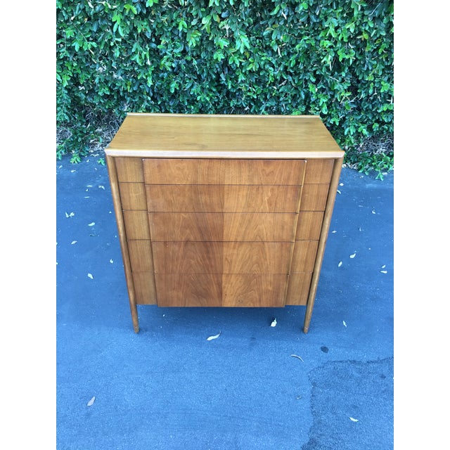 Mid century modern high boy dresser parallel collection by Barney Flagg for Drexel, MCM sculpted tall chest of drawers,...