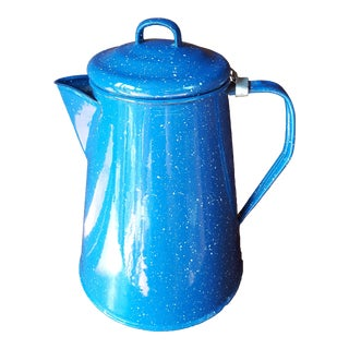 Vintage Blue Enamel Graniteware Enamel Tea Kettle For Sale