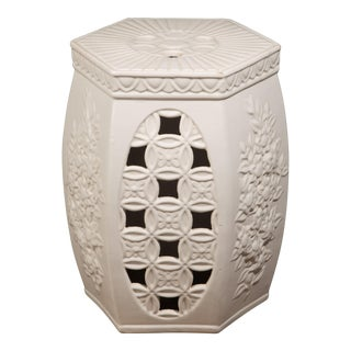 1960s Italy Chinoiserie White Ceramic Garden Stool For Sale