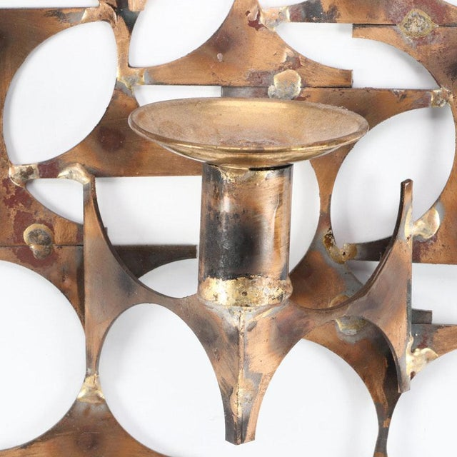 Metal Modern Wall Sconce Sculpture by Mark Weinstein For Sale - Image 7 of 12