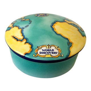 Tiffany Tauck Porcelain World Discovery Trinket Box For Sale
