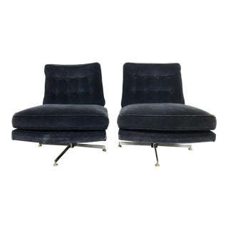 20th Century Milo Baughman Swivel Chairs- A Pair For Sale